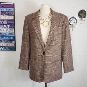Vintage wool blend notch collar plaid checked